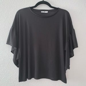 Zara Black short flare sleeve blouse top- L